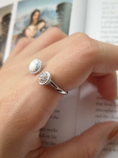925 Sterling Silver White Round Minimalist Free Size Ring