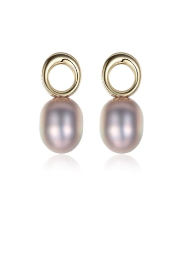 925 Sterling Silver Freshwater Pearl Hollow Round  Minimalist Drop Earring