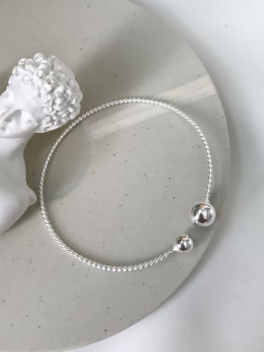 925 Sterling Silver Ball Trend Cuff Bangle