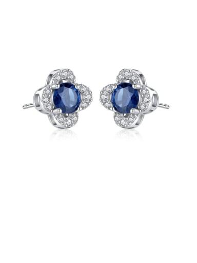 925 Sterling Silver Cubic Zirconia Blue Flower Luxury Stud Earring