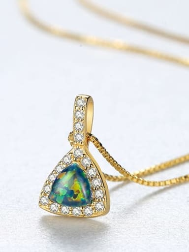 Green 20E04 925 sterling silver simple triangle Opal Pendant Necklace