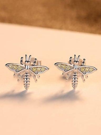 925 Sterling Silver Rhinestone Dragonfly Cute Stud Earring