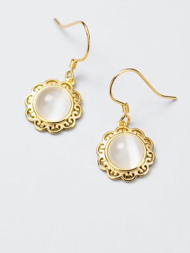 925 sterling silver cats eye flower trend hook earring