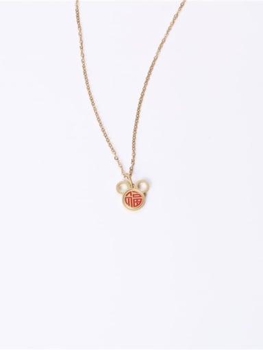 Titanium Enamel Mouse Minimalist Necklaces