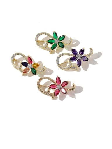 Copper Cubic Zirconia Multi Color Flower Dainty Brooches