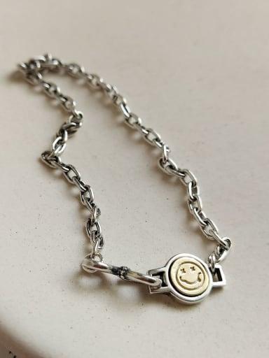 925 Sterling Silver Face smile Vintage Link Bracelet