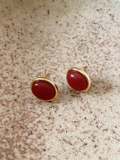 925 Sterling Silver Ruby Oval Vintage Stud Earring