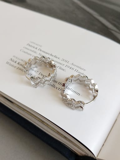 925 Sterling Silver Cubic Zirconia White Round Minimalist Hoop Earring