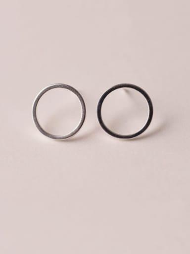Circular IN C10 925 Sterling Silver  Hollow Geometric Minimalist Stud Earring
