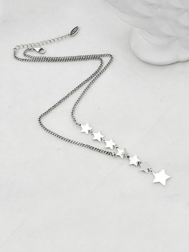 Vintage Sterling Silver With Platinum Plated Simplistic Star Necklaces