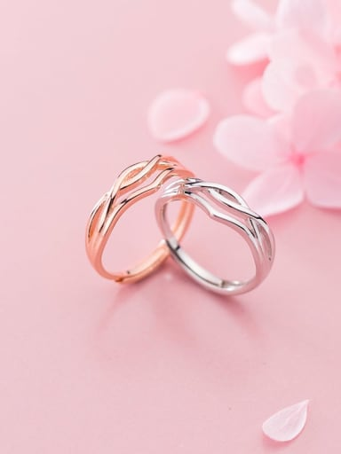 925 Sterling Silver  Minimalist Lines Simple Weave Twist Free Size Ring