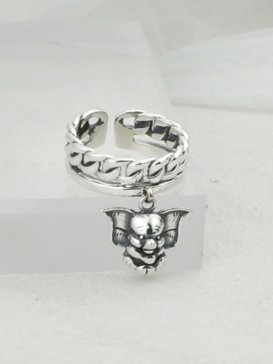 Vintage Sterling Silver With Antique Silver Plated Vintage Elephant Free Size Rings