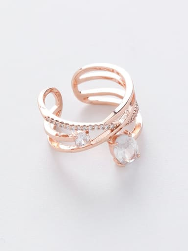 A gold Copper Cubic Zirconia White Irregular Dainty Band Ring