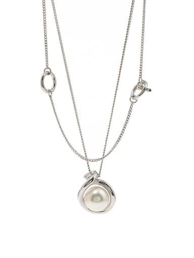 silvery Copper Imitation Pearl White Round Minimalist Multi Strand Necklace