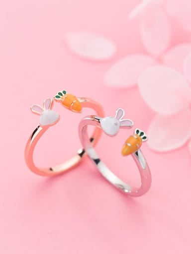 925 Sterling Silver ITrend Cute rabbit carrot  Free Size Ring
