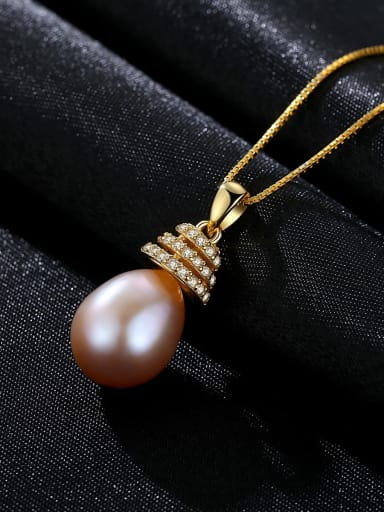 Purple 6A05 925 Sterling Silver Freshwater Pearl  pendant Necklace
