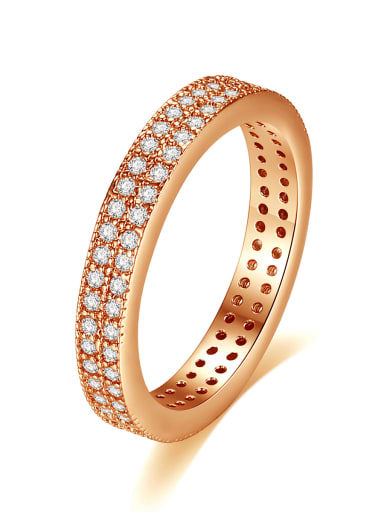 Copper Cubic Zirconia Round Minimalist Band Ring