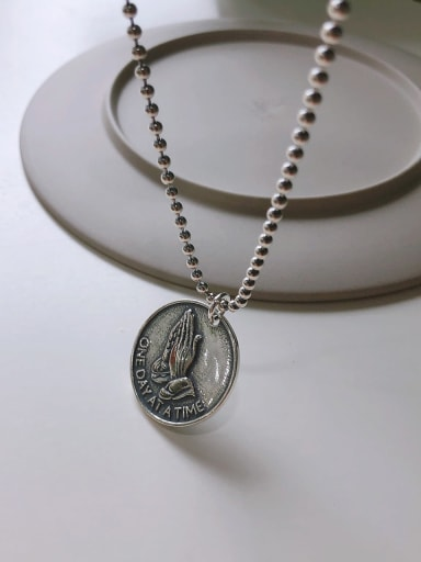 925 Sterling Silver Round Artisan Regligious Necklace