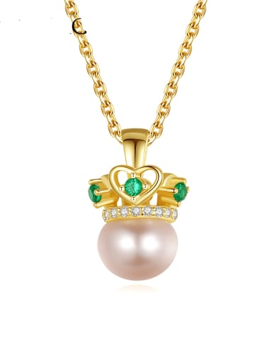 925 Sterling Silver Imitation Pearl Crown Minimalist Necklace