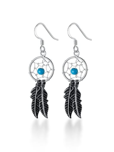 925 Sterling Silver Feather Vintage Hook Earring
