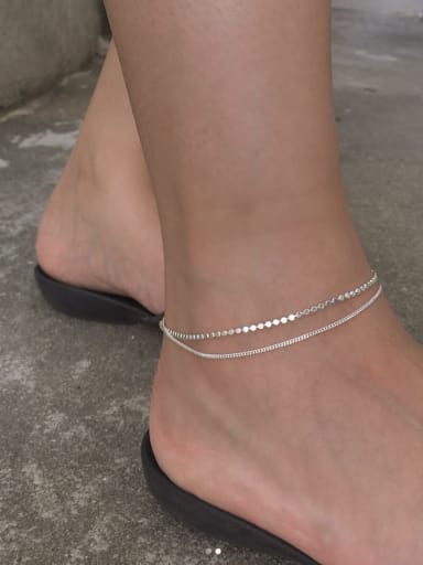 925 Sterling Silver  Flat Bead Double-Layer Anklet