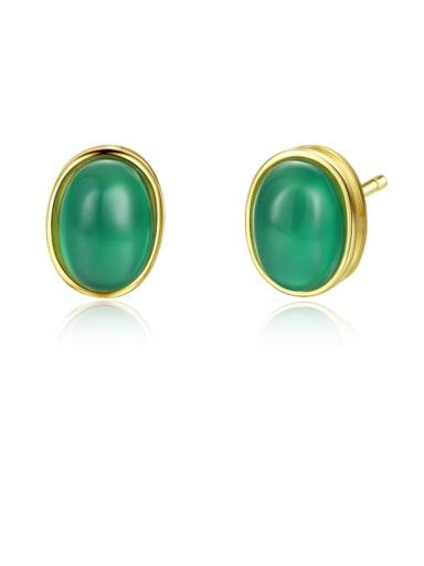 925 Sterling Silver Cats Eye Oval Minimalist Stud Earring