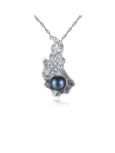 925 Sterling Silver Freshwater Pearl Irregular Zircon Pendant  Necklace