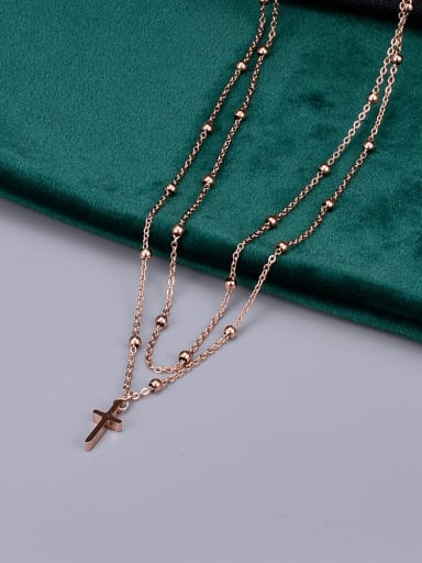 Rose Gold Titanium Bead Cross Classic Multi Strand Necklace