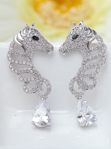 Main stone white platinum plated t08b17 Copper Cubic Zirconia Leopard Ethnic Drop Earring
