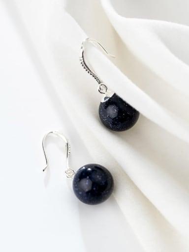 925 Sterling Silver Minimalist Round Pearl   Hook Earrings
