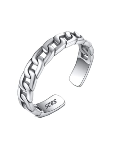 925 Sterling Silver Vintage  Chain Free Size Band Ring