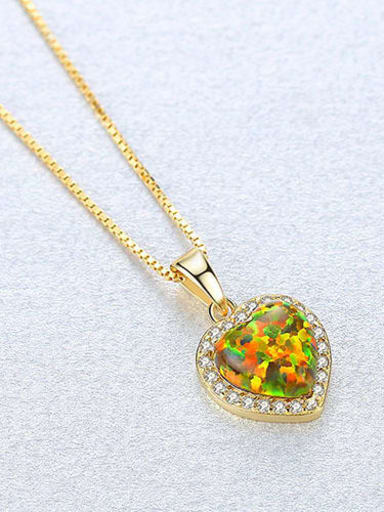 Yellow 20f06 925 Sterling Silver Opal Multi Color heart Necklace