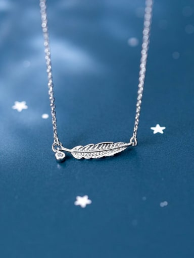 S925 sliver simple fashion feather pendant necklace