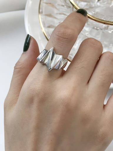 S925 Sterling Silver lightning wide smooth simple Free Size Rings