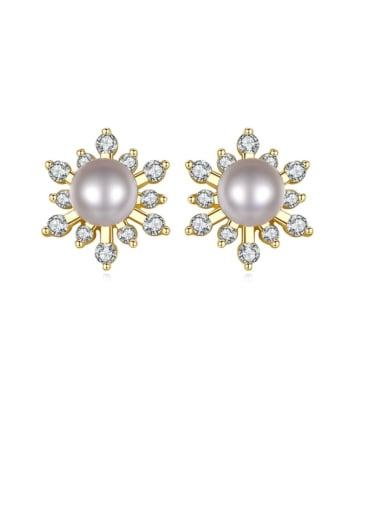 925 Sterling Silver Freshwater Pearl Flower Trend Stud Earring
