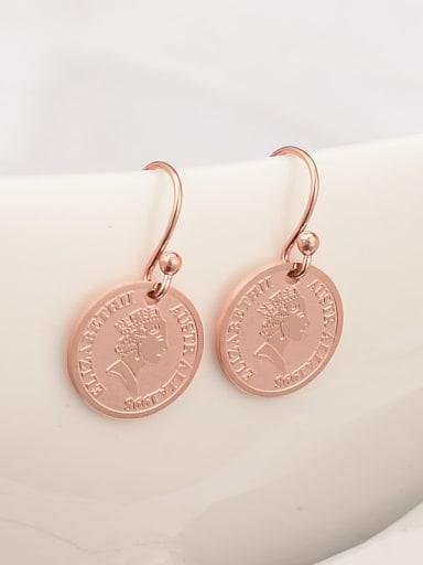 E92 queen rose gold Titanium Glass Bead Coin Minimalist Hook Earring