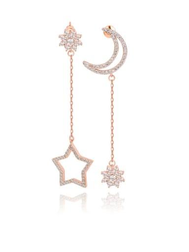 Copper Cubic Zirconia Star Moon Minimalist Threader Earring