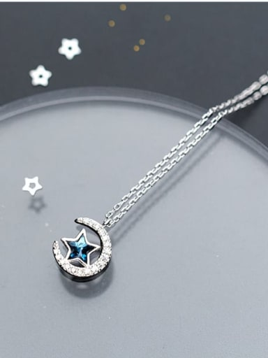 925 Sterling Silver Cubic Zirconia moon star Necklace