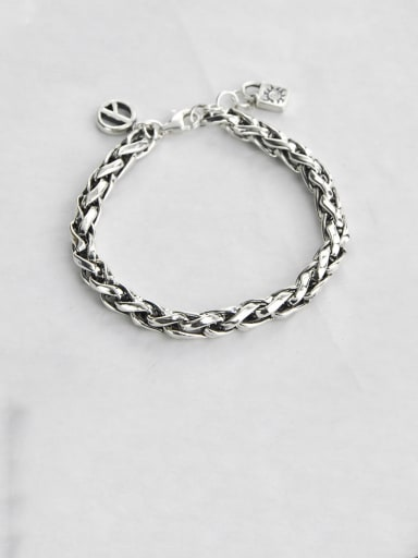18.5 Vintage Sterling Silver With Simple Retro Hollow Chain  Bracelets