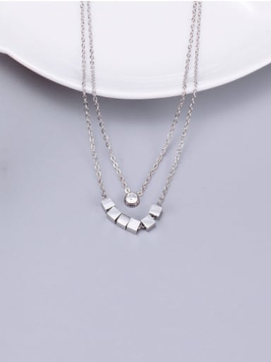silvery Titanium Smooth  Squares  Necklace