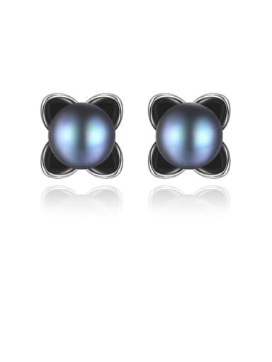 925 Sterling Silver Freshwater Pearl Flower Minimalist Stud Earring