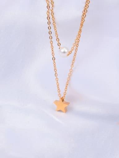 Titanium Imitation Pearl White Star Classic Multi Strand Necklace