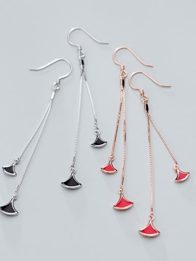 925 Sterling Silver Red Enamel Irregular Minimalist Hook Earring