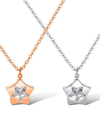 Titanium Rhinestone Star Minimalist Necklace