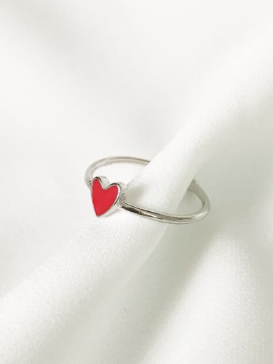 925 Sterling Silver enemel simple heart  Freee size ring