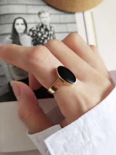 925 Sterling Silver Enamel Oval Rubber Vintage  Free Size Midi Ring