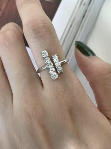 925 Sterling Silver  Rhinestone free size Ring