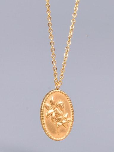 Titanium Oval Flowers Minimalist  pendant Necklace