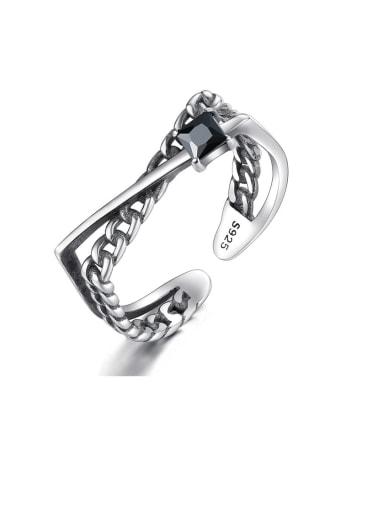 925 Sterling Silver Cubic Zirconia Irregular Vintage Midi Ring