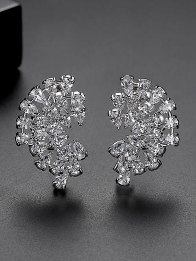White Copper Cubic Zirconia Flower Luxury Stud Earring